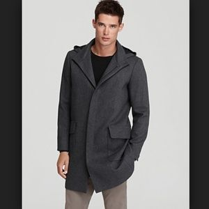 Theory houndstooth Mens Hooded Wool blend Coat